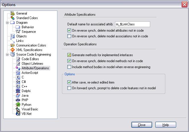 mda attributes operations options