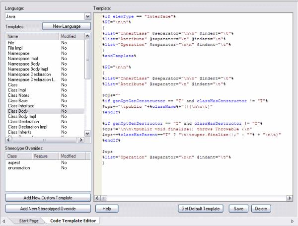 mda code template editor